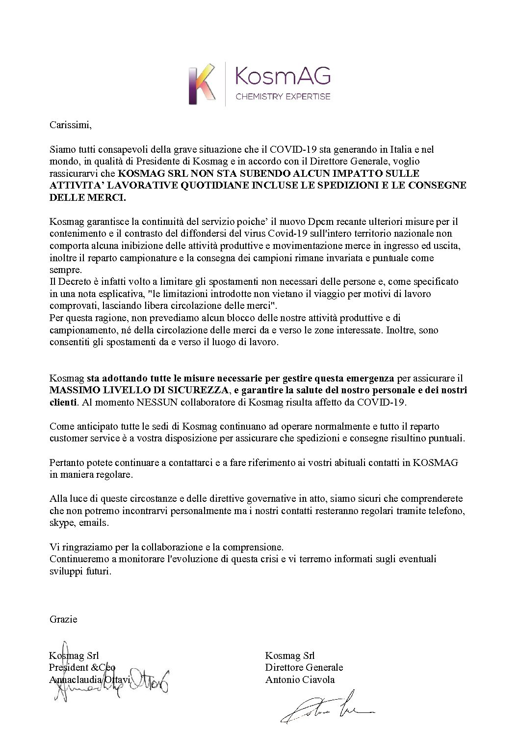KosmAG Lettera Ufficiale